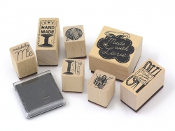 """Home-made / Sewing"" stamp kit (7 pcs) + 1 black ink pad"
