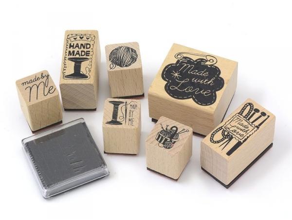 """Home-made / Sewing"" stamp kit (7 pcs) + 1 black ink pad"
