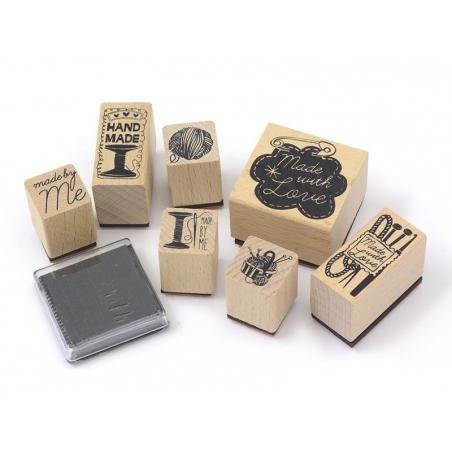 """Kit 7 tampons """"fait maison"""" couture + 1 encreur noir Yellow Owl Workshop - 2"""