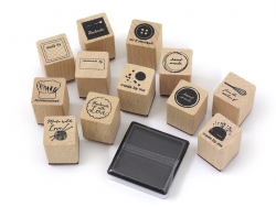 "Stamp kit ""Fait maison"" (12 pcs) + 1 black ink pad"