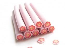 Cane fleur rose entourée de blanc