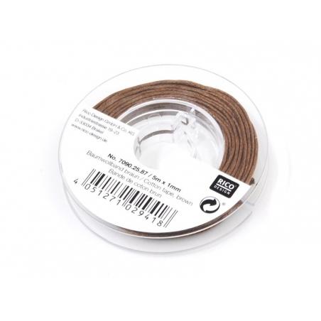 Petite bobine de fil de coton ciré 1 mm x 5 m - brun