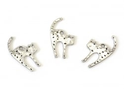 1 wild cat charm - silver-coloured