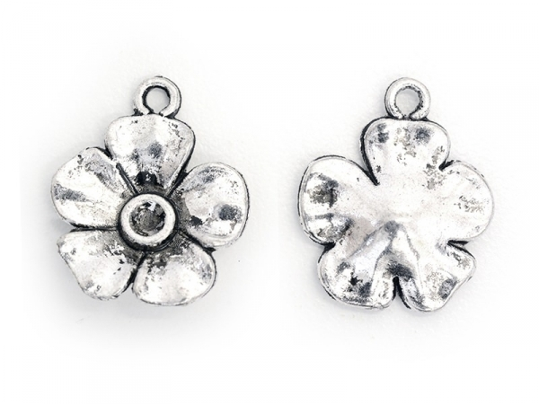 1 silver-coloured flower charm - buttercup