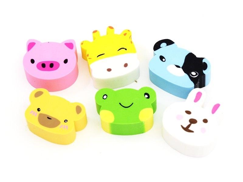 Set of 6 animal-shaped erasers