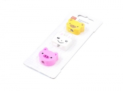 Set of 3 animal-shaped erasers - teddy bear, bunny, pig