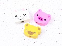 Set mit 3 Radiergummis in Tierform - Teddybär, Hase, Schwein