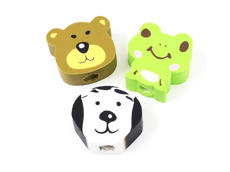 Set of 3 animal-shaped erasers - dog, bear, frog