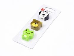 Set mit 3 Radiergummis in Tierform - Hund, Bär, Frosch