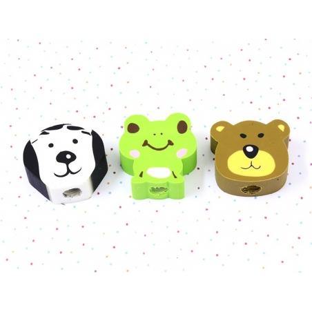 Lot de 3 gommes animaux - Chien, ours, grenouille