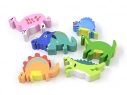 Set of 6 dinosaur-shaped erasers