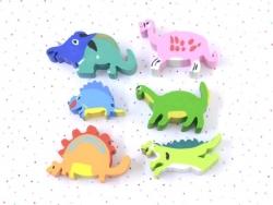 Set of 6 dinosaur-shaped erasers
