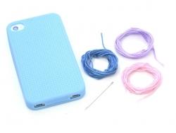 Handyhülle fürs iPhone 4/4S zum Besticken - blau