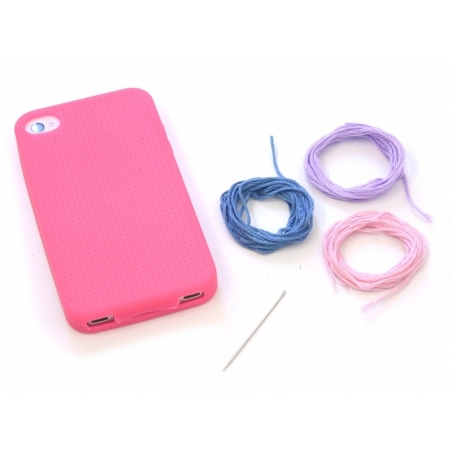 iPhone 4/4S case that can be embroidered - fuchsia