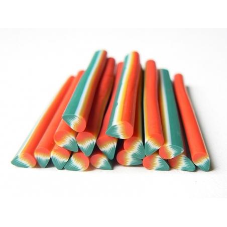 Cane pétale vert et rouge en pâte fimo - à découper en tranches  - 2