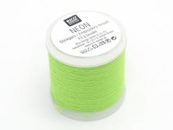 Bobine 20m de fil à broder fluo - vert Rico Design - 1