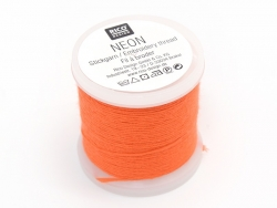 20 m bobbin of neon-coloured embroidery thread - orange
