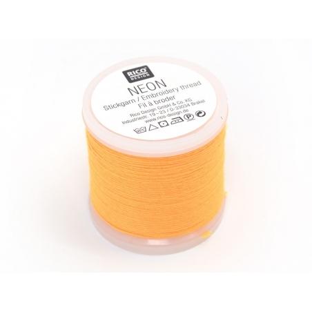 Bobine 20m de fil à broder fluo - jaune orangé