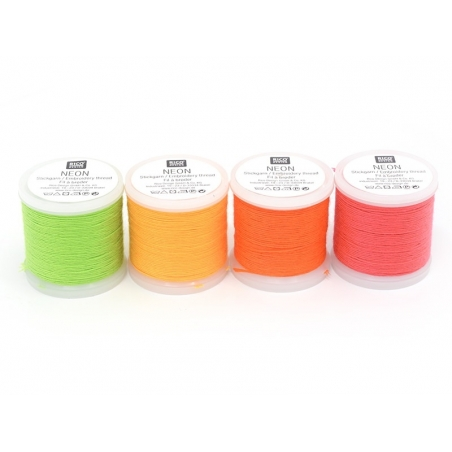 20 m bobbin of neon-coloured embroidery thread - pink