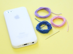Iphone 5/5S mobile case that can be embroidered - white