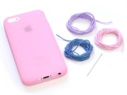 Handyhülle fürs iPhone 5/5S zum Besticken - hellrosa