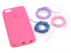 Coque IPHONE 5/5S à broder - Rose fushia