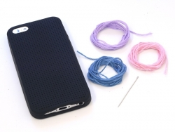 Handyhülle fürs iPhone 5/5S zum Besticken - schwarz