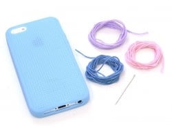 Iphone 5/5S mobile case that can be embroidered - blue
