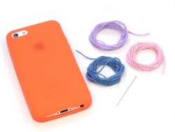 Iphone 5/5S mobile case that can be embroidered - orange