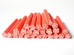 Cane fleur rouge en pâte polymère  - 1