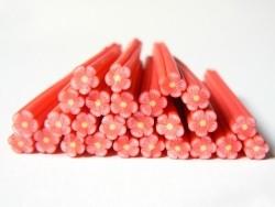 Cane fleur rouge en pâte polymère  - 3