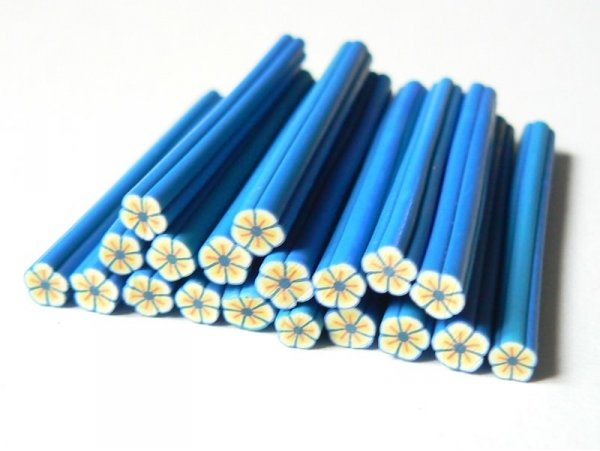 Flower cane - yellow with blue frame