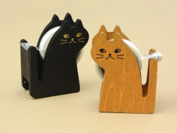 Dévidoir à ruban adhésif en forme de chat - noir