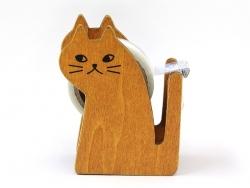 Tischabroller für Klebeband - in Katzenform - braun