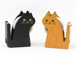 Dévidoir à ruban adhésif en forme de chat - marron