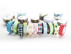 Patterned masking tape - Red crossed stripes Masking Tape - 3