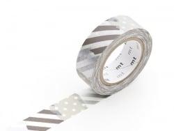Masking tape motif - Rayures et pois argent G Masking Tape - 1