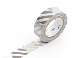 Masking tape with a pattern - Silver-coloured stripes and dots (G) Masking Tape - 1