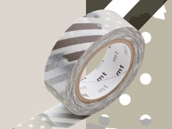 Masking tape with a pattern - Silver-coloured stripes and dots (G) Masking Tape - 2