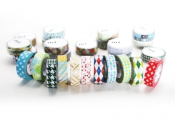 Masking tape with a pattern - Silver-coloured stripes and dots (G) Masking Tape - 3