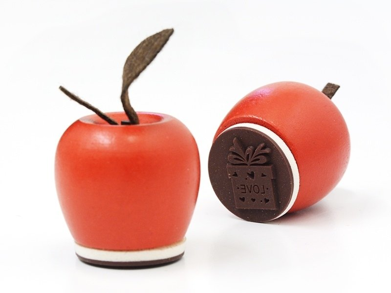 Wooden stamp in the shape of an apple - Love