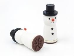 Holzstempel in Form eines Schneemanns - Schneeflocke