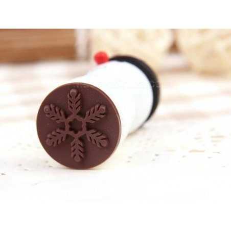 Wooden snowman stamp - Snowflake