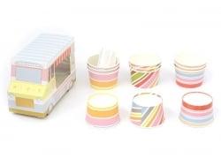 Set camion de glaces : 12 gobelets et 12 cuillères