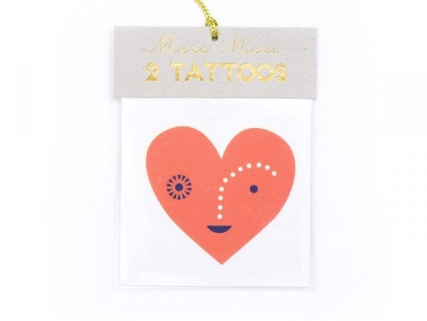 2 heart tattoos - black and red