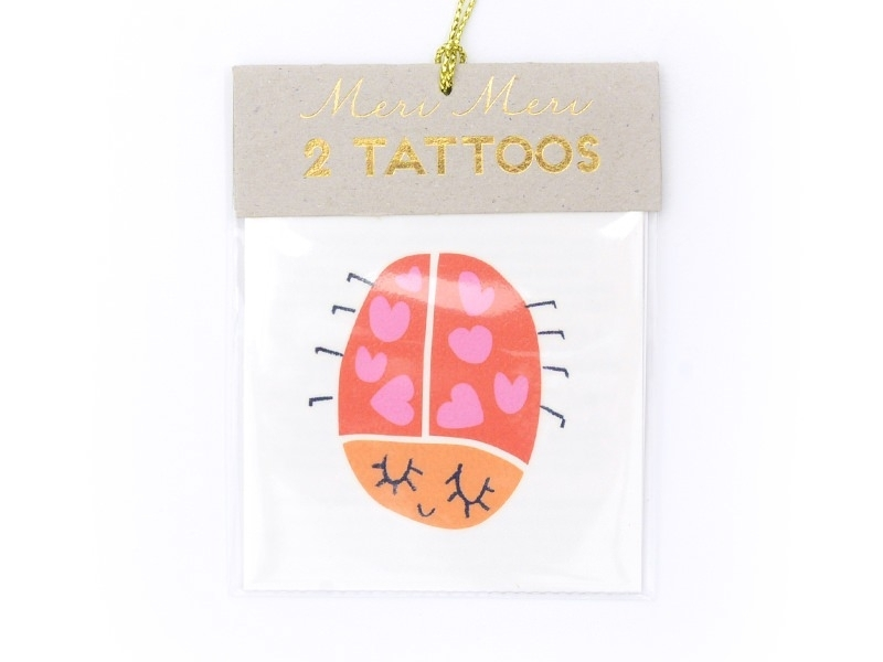 """2 tattoos - """"Hello"""" and a ladybird - red and pink"""