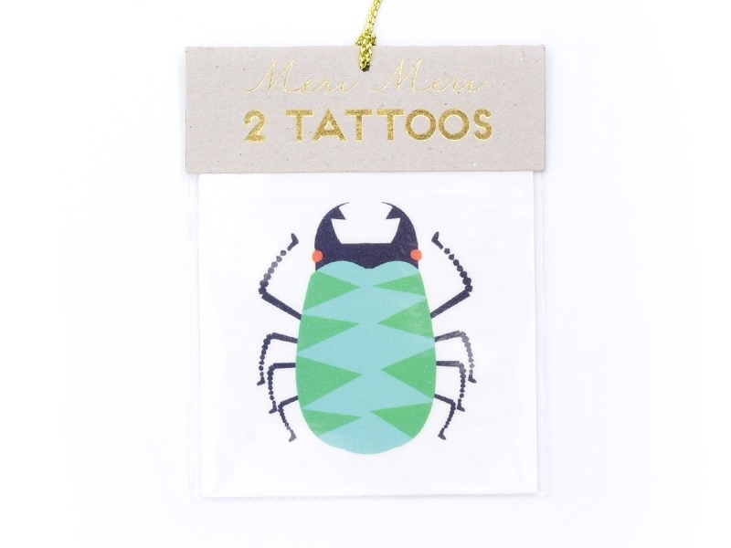 2 insect tattoos - green, violet and red