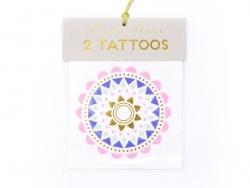 2 Tattoos - Blumen mit Ethnomuster - blau, gold, grün und rosa