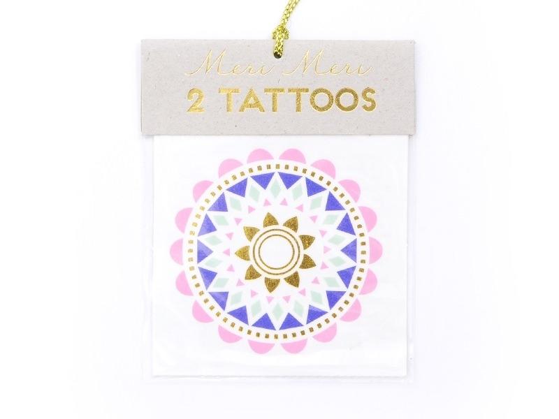 2 Tatouages fleurs ethniques - bleu or vert et rose