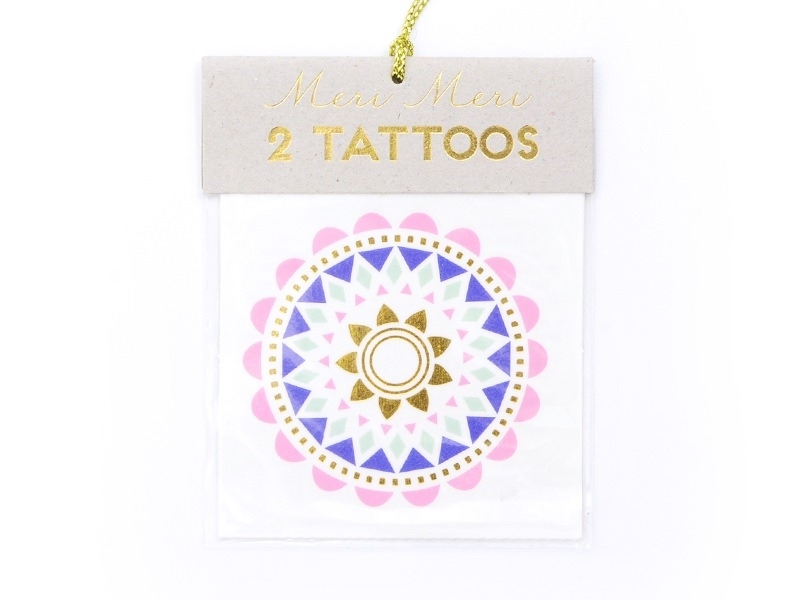 2 tattoos - ethnic flowers - blue, gold, green, and pink